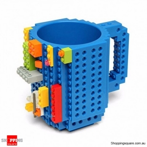Funny Build-On Brick Block Coffee Mug BPA-Free Blue Colour
