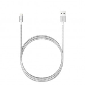 Anker 1.8m Nylon Braided Lightning USB Charging Cable For Apple iPhone iPad iPod - Silver