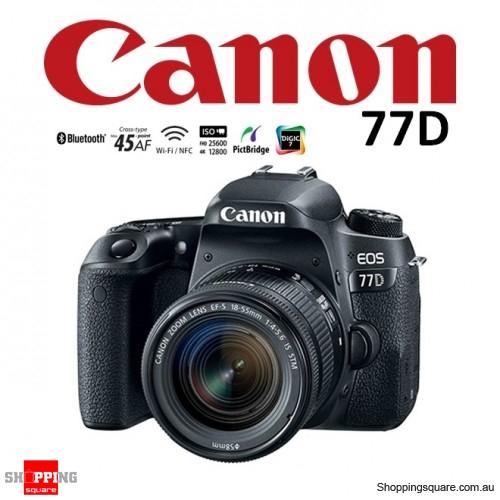 Canon EOS 77D Kit 18-55mm IS STM Lens 24.2MP Digital Camera WiFi Full HD HDR DSLR Black
