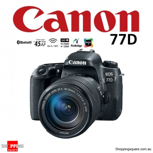 Canon EOS 77D Kit 18-135mm Nano Lens 24.2MP Digital Camera WiFi Full HD HDR DSLR Black