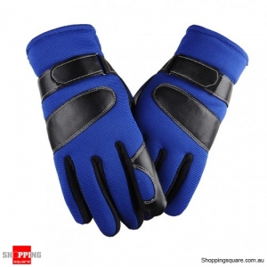 Winter Thickened Anti-skid Windproof Warm Gloves Mittens for Skiing Outdoor Driving Blue Colour