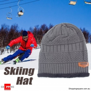 Adult Unisex Wool Cap Beanie Knitted Hat for Winter Outdoor Sports Riding Grey Colour