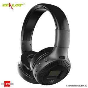 Zealot B19 Wireless Bluetooth Headset Headphone with Digital Display Stereo Mic Supported TF Card Black Colour