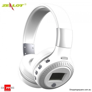 Zealot B19 Wireless Bluetooth Headset Headphone with Digital Display Stereo Mic Supported TF Card White Colour