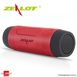 Zealot S1 Wireless Bluetooth Speaker Dustproof Waterproof Flashlight FM Power Bank Multi F Red Colour