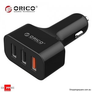 ORICO QC 2.0 35W 3-Port Car Charger for iPhone Sumsung Black Colour