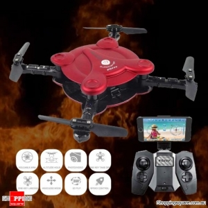 FQ777 FQ17W WIFI FPV Foldable Pocket Drone Quadcopter With 0.3MP Camera - Red Colour