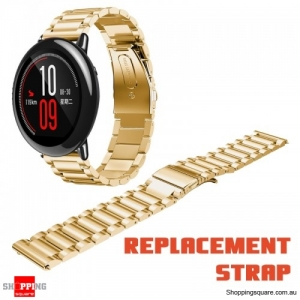 22mm Stainless Steel Watch Bracelet Band Strap Fold Buckle Replacementfor Xiaomi Huami Amazfit Gold Colour