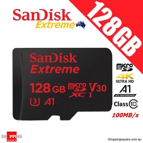 SanDisk Extreme 128GB microSDXC Memory Card 100MB/s Class 10 V30 A1 4K Ultra HD