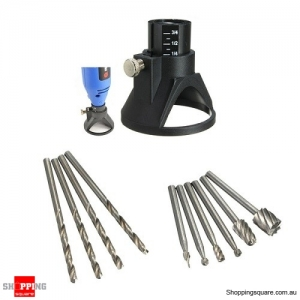 Drill Tool Set with Carving Locator 4pcs of 3mm Twist Drills 6pcs of Wood Milling Burrs Rotary