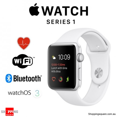 Apple Watch 38mm Series 1 Silver Aluminium Case with White Sport Band Smart Watch