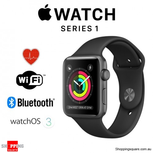 Apple Watch 38mm Series 1 Space Gray Aluminium Case with Black Sport Band Smart Watch