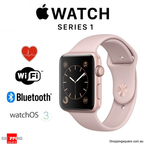 Apple Watch 38mm Series 1 Rose Gold Aluminium Case with Pink Sand Sport Band Smart Watch