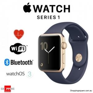 Apple Watch 38mm Series 1 Gold Aluminium Case with Midnight Blue Sport Band Smart Watch