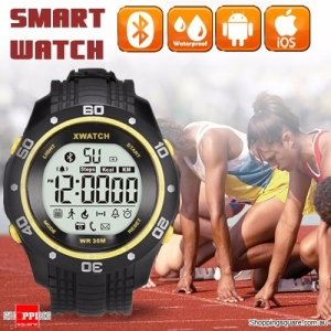 Xwatch Bluetooth 4.0 Outdoor Sport Waterproof Smart Wrist Watch Bracelet Pedometer Tracker Health Yellow Colour