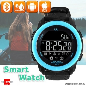 UU Bluetooth 4.0 Waterproof 5 ATM Smart Stopwatch Watch Pedometer for Sport iPhone Android Blue Colour