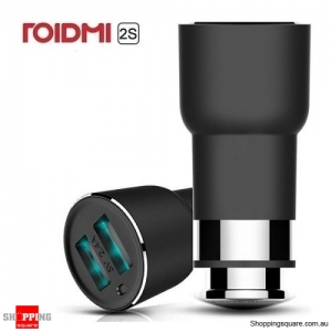 Original Xiaomi ROIDMI 2S Dual USB Bluetooth Hands-free Calls Car Charger Black Colour - International Version