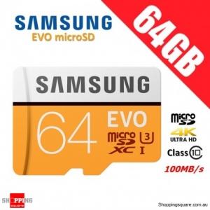 Samsung EVO 64GB micro SD SDXC Class 10 UHS U3 Memory Card 100MB/s 4K Ultra HD (2017)