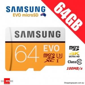 Samsung EVO 64GB micro SD SDXC Class 10 UHS U3 Memory Card 100MB/s 4K Ultra HD
