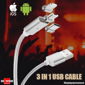 3 in 1 Metal Magnetic Charging Data Cable for Android/iOS