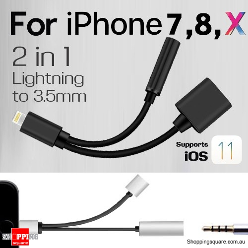 2in1 Lightning to 3.5mm Headphone Jack Adapter Charge Cable For iPhone 7/8/X iOS11.0.3 and before - Black Colour