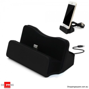 Sync Charging Dock Stand Charger Station Cradle w/Cable for iPhone 6 6s 7 Plus Black Colour