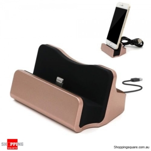 Sync Charging Dock Stand Charger Station Cradle w/Cable for iPhone 6 6s 7 Plus Rose Gold Colour