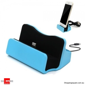 Sync Charging Dock Stand Charger Station Cradle w/Cable for iPhone 6 6s 7 Plus Blue Colour