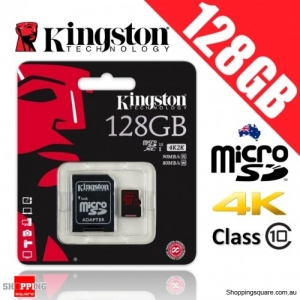 Kingston 128GB microSD SDXC Memory Card UHS-I U3 Up to 90MB/s Read and 80MB/s Write + Adapter