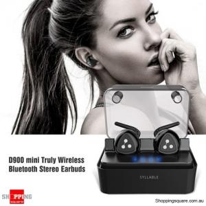 SYLLABLE D900 Mini Wireless Earbuds Bluetooth Headphones w/ Mic Charging Box Black Colour