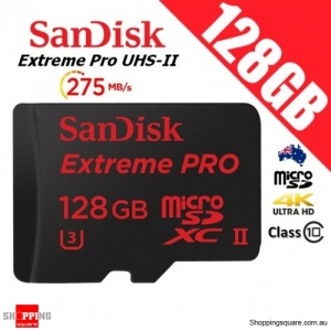 SanDisk Extreme Pro 128GB microSDXC UHS-II Memory Card 275MB/s 4K Ultra HD + Card Reader