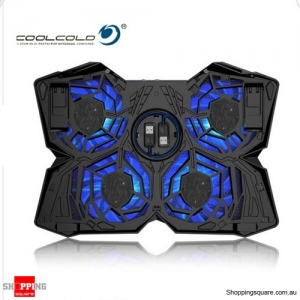 CoolCold Ice Magic 2 USB 4 Fan Notebook Laptop Cooler Cooling Pad Stand LED Blue Colour