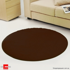 Circular Fluffy Shaggy Anti-Skid Rug Carpet Mat for Dining Room Floor Home Table Coffee Colour