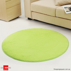 Circular Fluffy Shaggy Anti-Skid Rug Carpet Mat for Dining Room Floor Home Table Light Green Colour