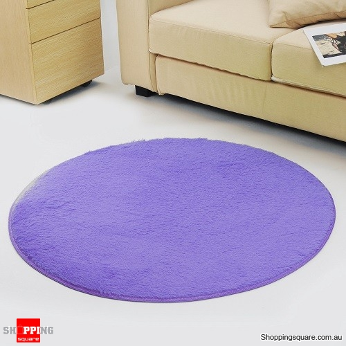 Circular Fluffy Shaggy Anti-Skid Rug Carpet Mat for Dining Room Floor Home Table Purple Colour