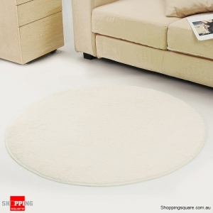 Circular Fluffy Shaggy Anti-Skid Rug Carpet Mat for Dining Room Floor Home Table Cream Colour