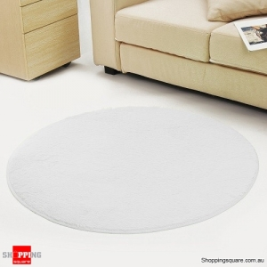 Circular Fluffy Shaggy Anti-Skid Rug Carpet Mat for Dining Room Floor Home Table White Colour