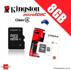 Kingston microSDHC 8GB Class 4 with Adapter Micro SD SDHC TF Memory Card