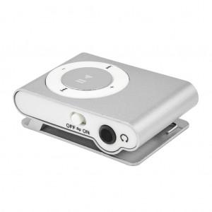 Portable Clip MP3 Player with Mini USB Port and Micro SD Card Slot - Silver Colour