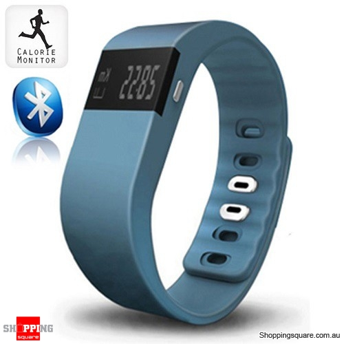 TW64 Bluetooth Sports Fitness Tracker Smart Wristband Watch for Android iphone Steel Blue Colour