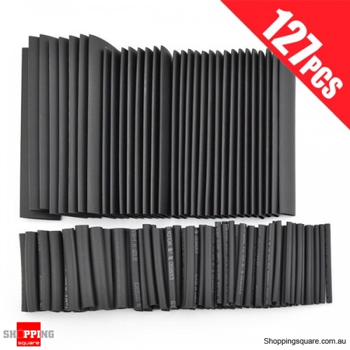 127pcs Polyolefin Halogen-Free Heat Shrink Tube Tubing Sleeving Kit with 7 Sizes