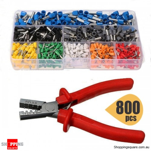 EC02 800Pcs Sets of Insulated Wire Connector End Terminal Cord Pin With Crimper Plier