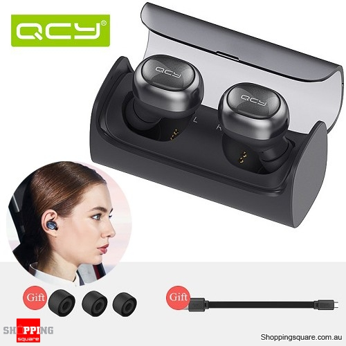 QCY Q29 Twin Mini Bluetooth 4.1 Wireless Stereo Headset Earphones with Charging Box Black Colour