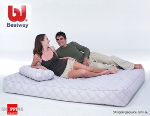 Queen Size Flocked Reinforced Airbed with AC Air Pump