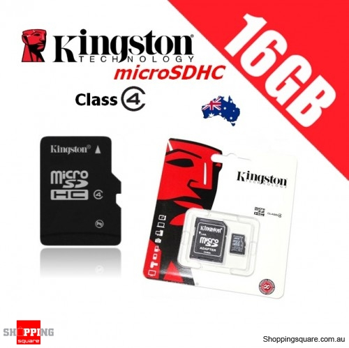 Kingston microSDHC 16GB Class 4 with Adapter Micro SD SDHC TF Memory Card