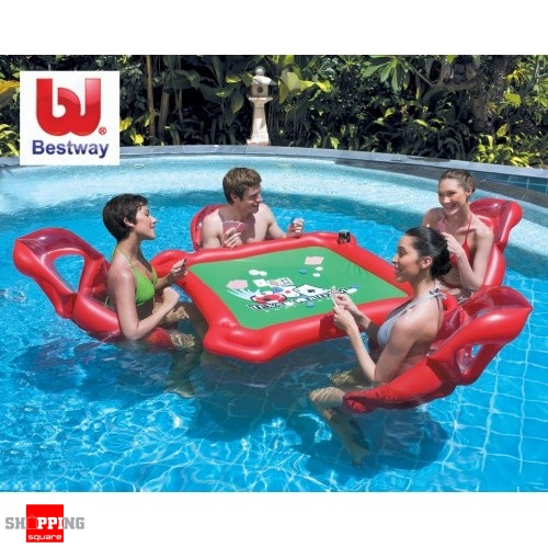 bestway inflatable texas pool poker table chair chips set ebay. Black Bedroom Furniture Sets. Home Design Ideas
