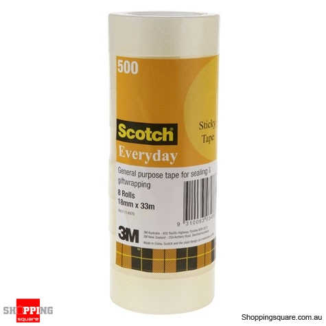 8x Scotch Everyday 500 Tape 18mm x 33m