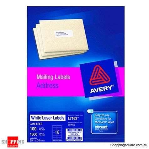 Avery White Address Labels 99.1 x 34mm, 1600 labels