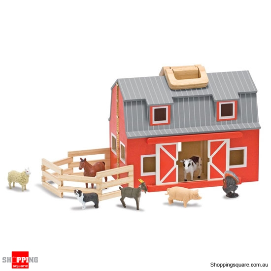 MELISSA & DOUG Fold and Go Wooden Mini Barn