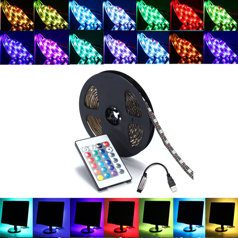 1M SMD5050 RGB LED Strip Lamp Bar TV Back Lighting Kit + USB Remote Control DC5V 1M